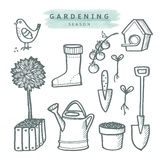 Cute set of gardening doodle sketches, isolated  Royalty Free Stock Photography