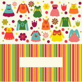 Cute Set for girl  clothes collection flat icons Stock Photography