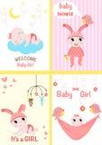 Set of cards for baby girls - vector illustration, eps stock illustration