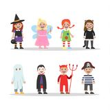Cute set of halloween costumes for children vector illustration