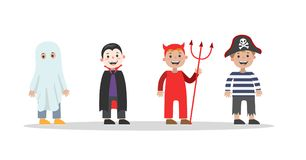 Cute set of halloween costumes for children royalty free illustration