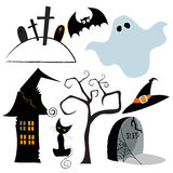 Cute set of Halloween design elements Stock Photo