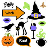 Cute set of Halloween witch photo booth props - Grab a prop and strike a pose Stock Images