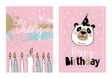 Cute set of hand drawn birthday or baby shower greeting cards, invitations with giant panda with party hat and burning Royalty Free Stock Images