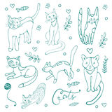 Cute set of hand drawn cats Stock Images