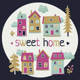 Cute set of houses with trees and clouds stock illustration