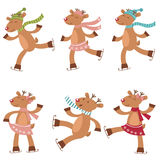 Cute set of ice skating deers Stock Photography