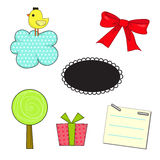 Cute set. Include bird, ribbon, cloud, tree, gift and paper Stock Images