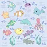 Cute set of Kawaii sea creatures royalty free illustration