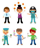 A cute set of kids dressed as professionals Royalty Free Stock Images