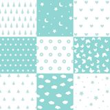 Cute set of kids seamless patterns with fabric textures vector illustration