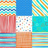 Cute set of kids seamless patterns with fabric textures. And vector illustration royalty free illustration