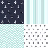 Cute set of Baby Boy seamless patterns with fabric textures stock illustration