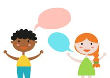Cute set of kids with speech bubbles on white background. royalty free illustration