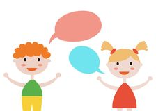 Cute set of kids with speech bubbles on white background. stock illustration