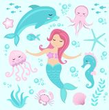 Cute set Little mermaid and underwater world.  Stock Photo