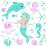 Cute set Little mermaid and underwater world. Fairytale princess mermaid and dolphin, octopus, seahorse, fish, jellyfish Royalty Free Stock Photo