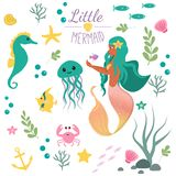 Cute set Little mermaid and underwater world. Fairytale princess mermaid and seahorse, fish, jellyfish, crab. Under water in the s. Ea mythical marine collection Stock Photos