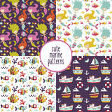 Cute set of marine patterns with mermaids, sea, ships, yachts, seaweed, Seagull, fish, waves, corals, anchor. Cute set of marine patterns with mermaids, sea Stock Images
