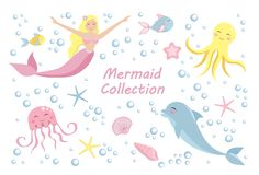 Cute set mermaid and dolphin, octopus, fish, jellyfish. underwater world collection vector illustration