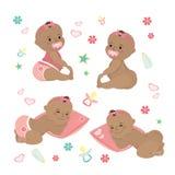 Cute set Newborn african american baby royalty free illustration