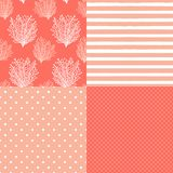 Cute Set Of Abstract Seamless Patterns In Trendy Living Coral 2019 Colors Stock Photos