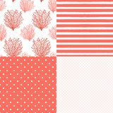 Cute Set Of Abstract Seamless Patterns In Trendy Living Coral 2019 Colors Stock Photo