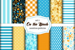 Free Cute Set Of Summer Time Vintage Seamless Patterns Stock Image - 98311081
