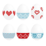 Cute set of painted easter eggs,  Stock Images