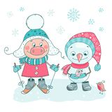 Cute set of pig, snowmen, birds and snowflakes vector illustration