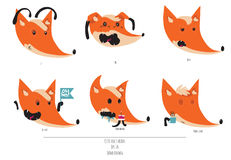 Cute  set of playful foxes heads with various emotions. Oh hey, love you, meh, fml, need coffee. Hand drawn cute illustratio Royalty Free Stock Photography