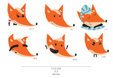 Cute  set of playful foxes heads with various emotions. Sleepy, woohoo, hiding, please, like a sir, Hand drawn cute illustra Royalty Free Stock Photo