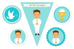 Cute set of printable elements for First Communion for boys. As cake toppers, bunting flags, labels or stickers Stock Image