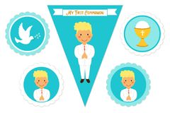 Cute set of printable elements for First Communion for boys. As cake toppers, bunting flags, labels or stickers Royalty Free Stock Photography