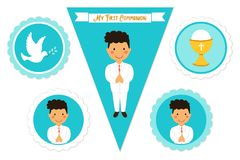 Cute set of printable elements for First Communion for boys. As cake toppers, bunting flags, labels or stickers Stock Photo