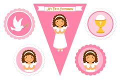Cute set of printable elements for First Communion for girls. As cake toppers, bunting flags, labels or stickers Royalty Free Stock Image