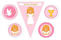 Cute set of printable elements for First Communion for girls. As cake toppers, bunting flags, labels or stickers Stock Images