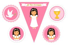 Cute set of printable elements for First Communion for girls. As cake toppers, bunting flags, labels or stickers Stock Photography