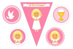 Cute set of printable elements for First Communion for girls. As cake toppers, bunting flags, labels or stickers Royalty Free Stock Photo