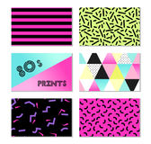 Cute set of 80s and 90s style trendy cards design. Cute set of retro 80s and 90s style trendy cards for your decoration Stock Photography