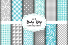 Cute set of scandinavian Baby Boy seamless patterns with fabric textures royalty free illustration