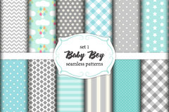 Cute set of scandinavian Baby Boy seamless patterns with fabric textures. Cute set of geometric scandinavian Baby Boy seamless patterns with fabric textures for vector illustration