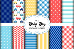 Cute set of scandinavian Baby Boy seamless patterns with fabric textures. Cute set of geometric scandinavian Baby Boy seamless patterns with fabric textures for stock illustration