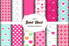 Cute set of scandinavian Sweet Heart Valentines Day seamless patterns with fabric textures royalty free illustration