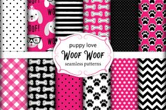 Cute set of seamless patterns with hand drawn cartoon characters of dog, footprints and bones Royalty Free Stock Image