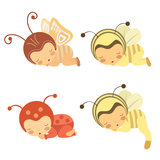 Cute set of sleeping babies in various costumes Royalty Free Stock Images