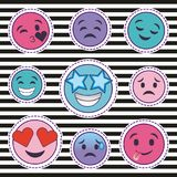 Cute set of smile emoticons stickers with striped background Stock Images