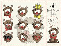 Set of smiles Ruddy the deer 1 vector Royalty Free Stock Image