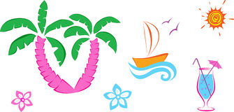 Cute set summer icons. Royalty Free Stock Images