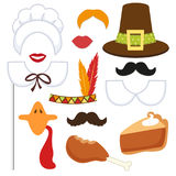 Cute set of Thanksgiving photo booth props. ! Grab a prop and strike a pose Stock Photo
